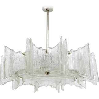 "J.T. Kalmar Frosted Glass ""Star"" Chandelier, Austria, 1960s"