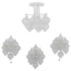 Set of Three Tulipan Scones and a Ceiling Chandelier by J.T. Kalmar, 1960s