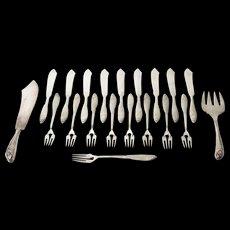 Set of 20 Jugendstil Fish Cutlery Set by Orivit Cologne, Designed in 1907