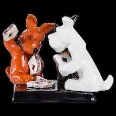 Art Deco Goldscheider Sculpture Depicting Three Card Playing Fox Terriers