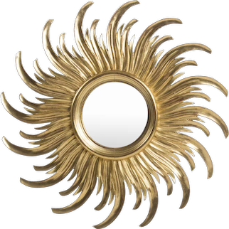 Curved Mid-Century Medium Sized Sunburst Mirror, France, circa 1950s