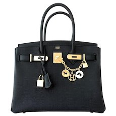Hermes Black 30cm Birkin Togo Gold Hardware GHW Bag Tote Most Requested