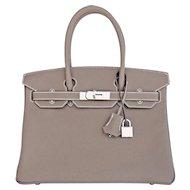 Hermes Etoupe 30cm Togo Birkin Palladium Hardware Bag Iconic