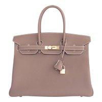 Hermes Etoupe Togo 35cm Birkin Gold Hardware GHW Tote Bag