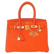Hermes Feu Orange 30cm Togo Birkin Gold GHW Satchel Tote Bag Gorgeous