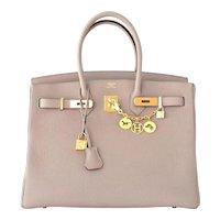 Hermes Gris Tourterelle 35cm Dove Grey Togo Birkin Gold GHW Tote Bag Chic