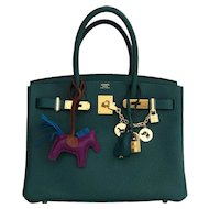 Hermes Malachite Emerald Green 30cm Birkin Gold GHW Satchel Bag Collectors' Fave