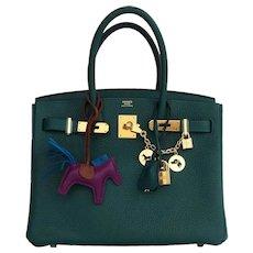 Hermes Malachite Emerald Green 30cm Birkin Gold GHW Satchel Bag Collectors' Fave