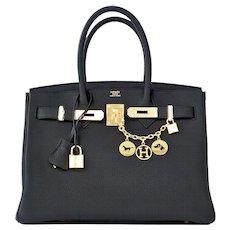 Hermes Plomb Lead Grey Black Togo 30cm Birkin Gold GHW Bag Superb