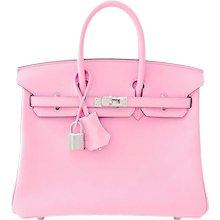 Hermes Rose Sakura Pink 25cm Swift Leather Birkin Satchel Bag Jewel