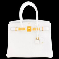 Hermes White Gold 30cm Birkin Bag GHW Rare Superb