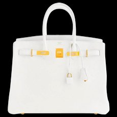 Hermes White Gold 35cm Birkin GHW Fresh 2016 Bag Interior X Stamp Hamptons!