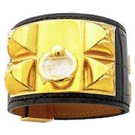 Hermes Black Matte Crocodile Croc Collier de Chien CDC Leather Cuff Bracelet Gold