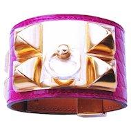 Hermes Rose Scheherazade Alligator Gold GHW CDC Collier de Chien Bracelet