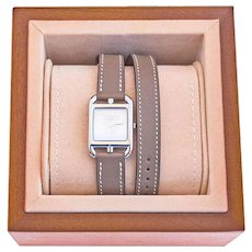 Hermes Etoupe Cape Cod PM Double Tour Watch Classic Gift Below Retail