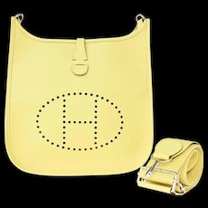 Hermes Jaune Poussin Evelyne PM Messenger Leather Bag Perfect for Summer!
