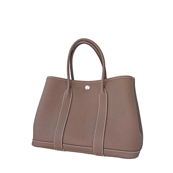 846042a0e3e3 Hermes Etoupe TPM Leather Garden Party Tres Petite Modele Tote Bag 30cm Rare