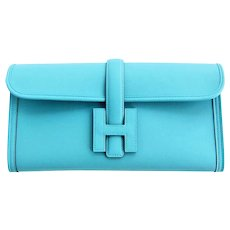Hermes Blue Atoll Jige Elan 29cm Swift Clutch Bag Stunning