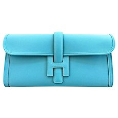 Hermes Blue Saint Cyr Jige Elan Clutch Bag Robin Egg Blue Charming