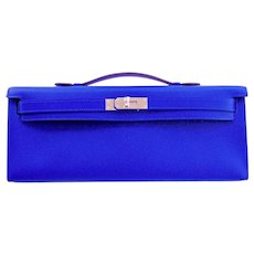 Hermes Blue Electric Epsom Kelly Cut Clutch Bag Fabulous