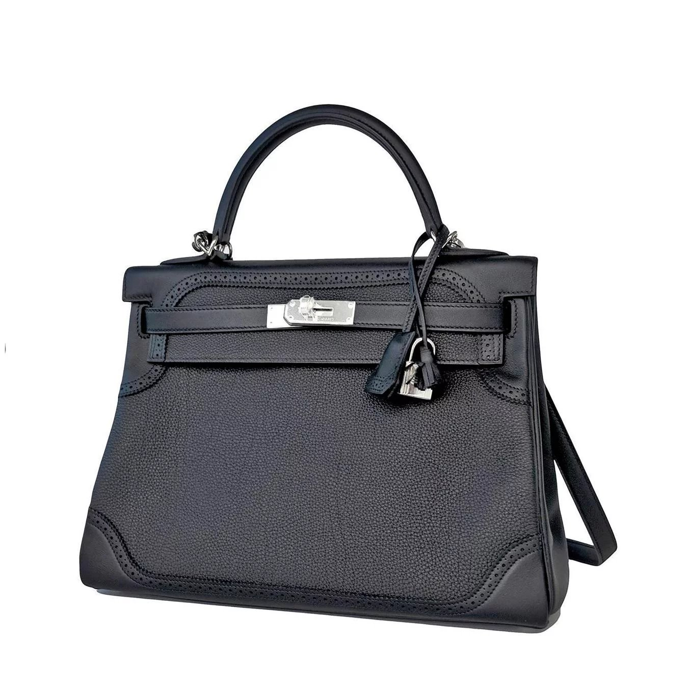 d8854a882f23 Hermes Black Ghillies Limited Edition 32cm Kelly Togo Swift Shoulder ...