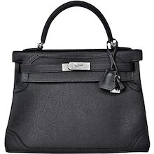 Hermes Black Ghillies Limited Edition 32cm Kelly Togo Swift Shoulder Bag Rare