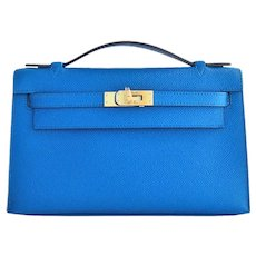 Hermes Blue Izmir Gold Kelly Pochette Epsom GHW Clutch Cut Bag Insane