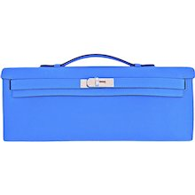 Hermes Blue Paradise Kelly Cut Pochette Clutch Swift Palladium Bag