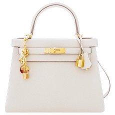 Hermes Craie 28cm Chalk Togo Kelly Gold GHW Shoulder Bag Classic