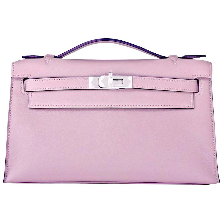 f7788b8999c ... low price hermes glycine kelly pochette cut clutch bag palladium  lavender romantic 0a96b a7356