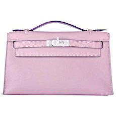 Hermes Glycine Kelly Pochette Cut Clutch Bag Palladium Lavender Romantic