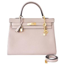 Hermes Gris Tourterelle Togo Dove Grey Kelly 35cm Gold Shoulder Bag Elegant