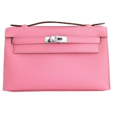 Hermes Rose Confetti Epsom Kelly Pochette Bag Love
