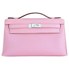 Hermes Rose Sakura Kelly Pochette Cut Clutch Bag Swift Palladium