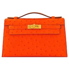 Hermes Tangerine Ostrich Exotic Mini Kelly Pochette Gold Hardware Orange Amazing