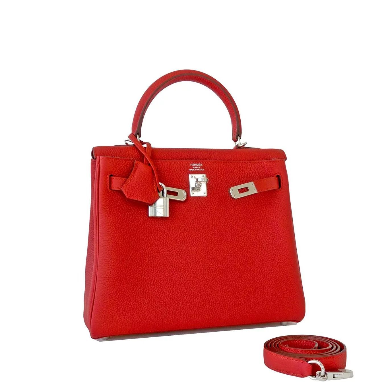 Hermes Vermillion 25cm Lipstick Red Togo Mini Kelly Bag