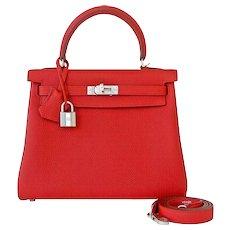 Hermes Vermillion 25cm Lipstick Red Togo Mini Kelly Bag Palladium Rare Jewel