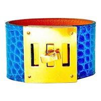 Hermes Blue Izmir Shiny Alligator Kelly Dog Gold Hardware Rare