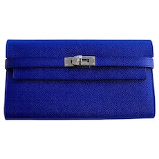 Hermes Blue Electric Epsom Kelly Long Wallet PHW Perfect Gift