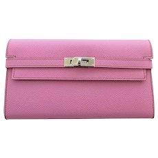 Hermes Bubblegum 5P Pink Epsom Kelly Wallet Clutch T Stamp Grail