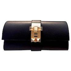 Hermes Black Medor Pochette 23cm Clutch Gold Hardware Bag Elegant