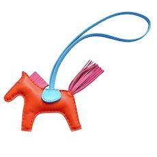 Hermes Orange Poppy Rose Azalea Rodeo Horse Charm PM for Birkin Kelly Latest