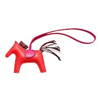 Hermes Rose Jaipur Rodeo Leather Charm PM Small Gorgeous Rare Color