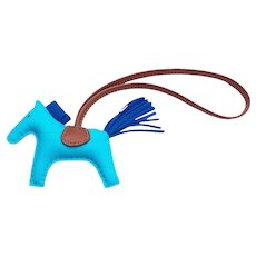 Hermes Blue Aztec Blue Electric Fauve Rodeo Horse Charm PM Small Rare Color