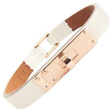 Hermes Craie Swift Rose Gold Micro Kelly Leather Bracelet Medium