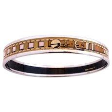 Hermes Gold Printed Enamel Bracelet Collier de Chien CDC Palladium 65