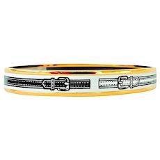 Hermes White Black Narrow Gold Printed Enamel Bracelet 70