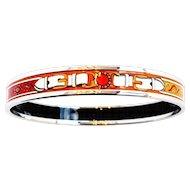 Hermes Orange White Printed Enamel Bracelet Bangle 70