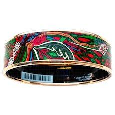 Hermes Red Green Blue Printed Rose Gold 70 Wide Enamel Bangle Bracelet