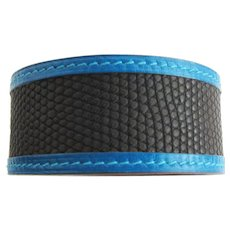 Hermes Black Blue Lizard Calf Leather Petit H Bracelet Cuff One of a Kind